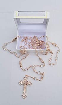 Crystal and Rose Gold Beads Wedding Lasso with Rose Gold Cross Adorned with Crystals Lasso para Boda En Color Oro Rosa Gift Favor Laso Mancuerna with Gift Box