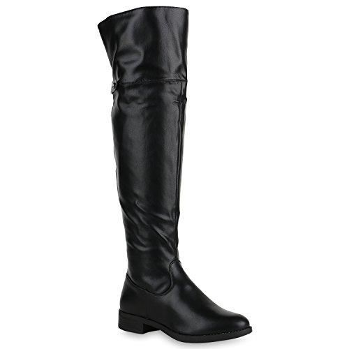 Damen Overknees Stiefel Leder-Optik Schuhe Zipper Nieten Schuhe 150066 Schwarz 37 Flandell
