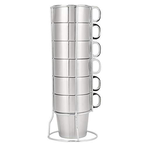 NBSXR 6-teilige stapelbare Kaffeetassen aus Edelstahl mit doppelter Wärmeisolierung und Metallständer, spülmaschinenfestem Becher für Haushalt, Schule und Picknick