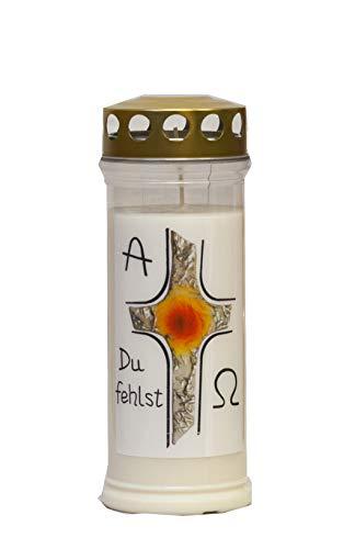 St. Jakob´s Motivkerzen - Grabkerzen in weiß mit Golddeckel - 24 STÜCK Grablichter mit Deckel - 7 Tage Wochenbrenner Grabkerzen - Friedhofskerze (Kreuz)