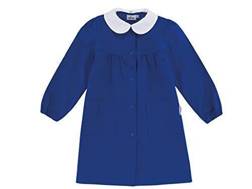 Grembiule Scuola SIGGI Linea Happy School - Elementare Bambina Colore Blu Senza Ricamo - Abbottonatura Centrale con Bottoni. Disponibile nelle taglia dalla 6 a 15 anni