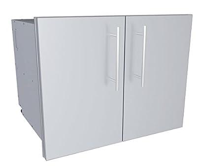 "SUNSTONE DE-DDP30 Designer Series Raised Style Double Door Dry Storage Pantry, 30"", Stainless Steel"