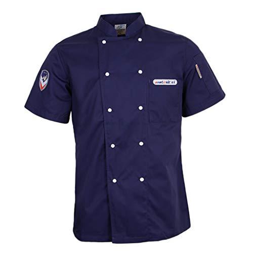 CUTICATE Kochjacke Bäckerjacke kurzarm Kochkleidung Damenkochjacke Herrenkochjacke Damenbäckerjacke - Blau, L