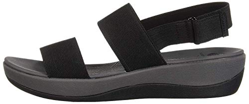 Clarks womens Arla Jacory Wedge Sandal, Black Solid, 9.5 US