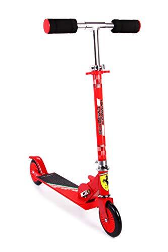 Ferrari Patinete 2 Ruedas para Niños de 3 a 10 Años Patinete Plegable Ajustable en Altura, Carga Máxima 50 kg (Rojo, Negro)