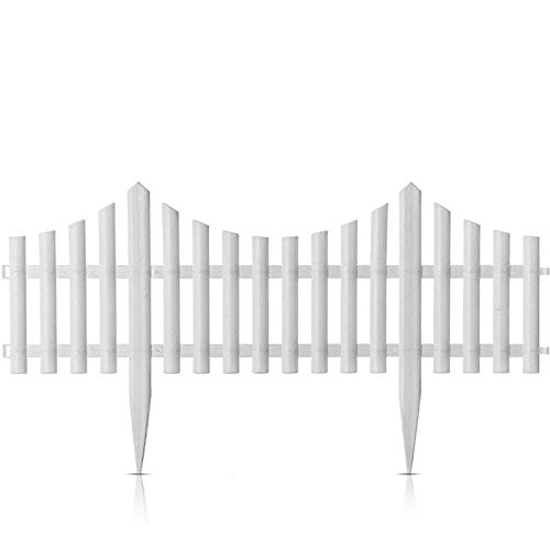 kristy 4 Stücke Steckzaun Beeteinfassung, Kunststoff Gartenzaun, Dekorative Staketenzaun für Garten Rasen Hochzeits Dekoration, 32 cm Hoch, Weißer