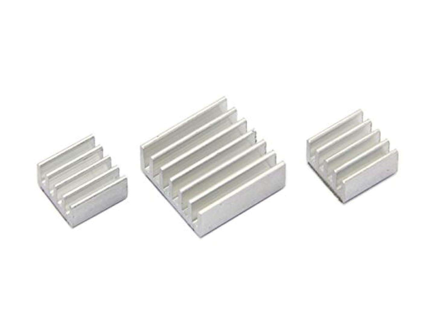 Games&Tech 3 Pieces Set Adhesive Aluminum Heatsink Cooler Cooling Kit for Raspberry Pi A A+ B B+ 2 Model B