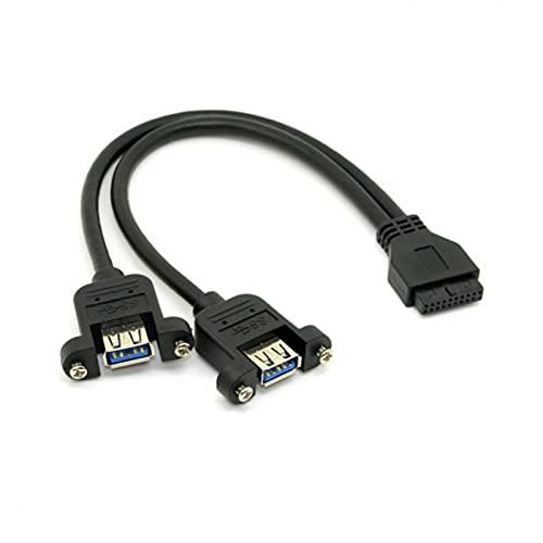 NFHK USB 3.0 Dual Porte A Femmina Vite Montaggio Tipo a Scheda Madre 20pin Cavo di intestazione Nero