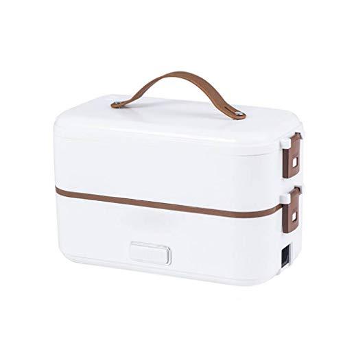 Masrin Zweischichtige Lunchbox Lebensmittelbehälter Tragbare elektrische Heizungsisolierung (Weiß)