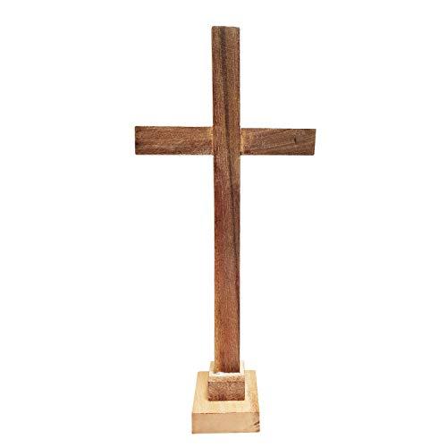 Whopper Christian Handmade Brown Christian Desktop Wooden Cross Antique Design Crucifix, Church Ornament, Living Room Home Decor 33 cm
