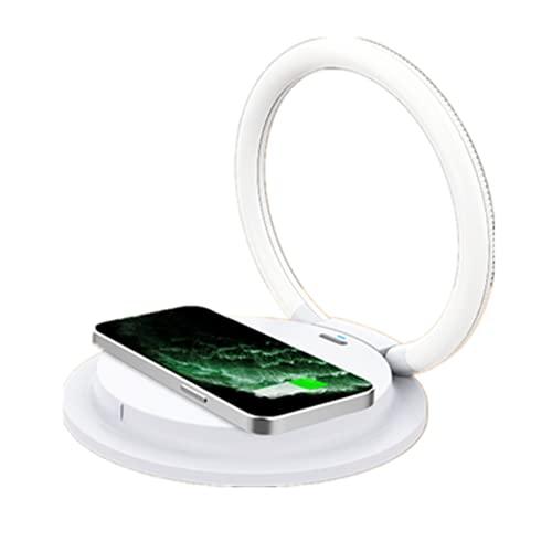 LEMONDA - Caricabatterie wireless da 15 W, lampada da scrivania con 3 livelli di luminosità, caricatore a induzione rapida Qi 15 W/10 W/7,5 W/5 W, compatibile con iPhone 12/12 Mini/Pro Max/11