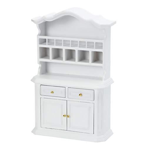 TOYANDONA Miniatur Puppenhaus Vitrine - Puppenhaus Mini Möbel Glas Bücherregal - Maßstab 1/12 (Weiß)
