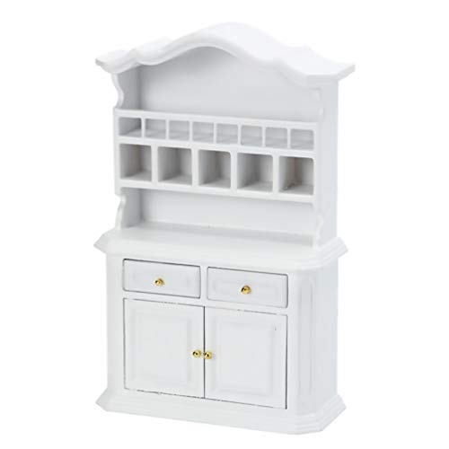 TOYANDONA, casa delle bambole in miniatura, casa delle bambole, mobile in vetro, libreria, scala 1/12 (bianco)