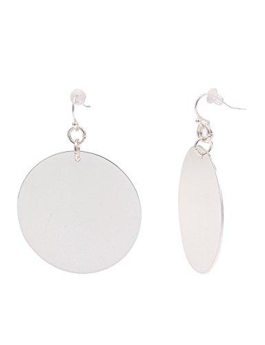 Leslii Damen Ohrringe Ohrhänger Statement Ohrschmuck silberne Modeschmuck 5,7cm in Silber Hochglanz