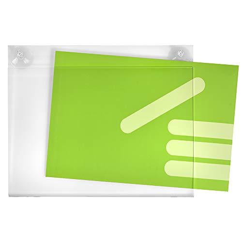 DIN A4 Quer (297x210mm) Acrylglastasche mit Saugnäpfen für Glasscheiben/Infotasche/Blatthalter/Schildhalter/Preisschildhalter/Plakattasche/Saugnapf/Haftsauger/Saugfuß/Transparent - Zeigis®