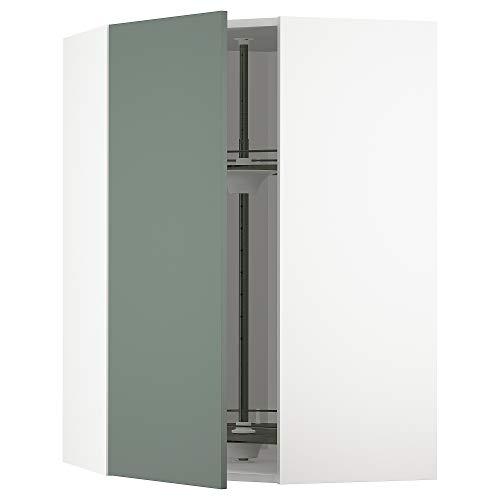 METOD armario esquinero de pared con carrusel 67,5x67,5x100 cm blanco/Bodarp gris-verde