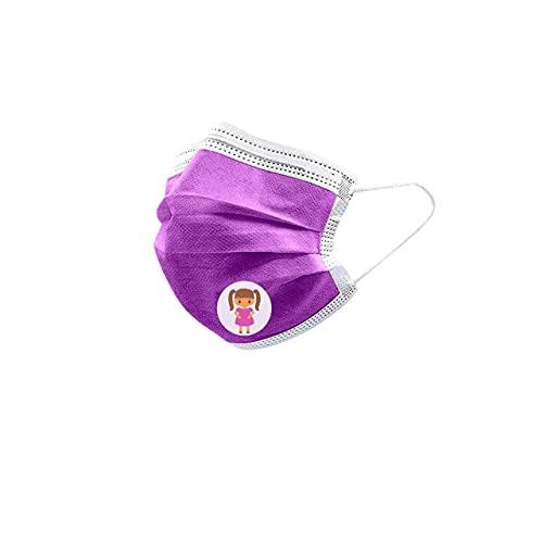 URUSANA 50x Kinder Maske Einweg-Gesichtsmasken Lila Einweg Mund und Nasenschutz Mundbedeckung Behelfsmaske Mundschutz atmungsaktiv Staubmaske Dehnbare elastische Ohrschlaufen Maske (Lila)