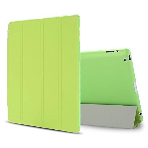 Besdata iPad 2 3 4 Hülle Smart Cover Schutz Hülle Leder Tasche Etui für Apple iPad Ständer Sleep Wake mit Bildschirmschutzfolie Reinigungstuch Stift Grün