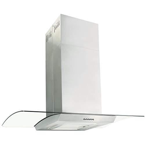vidaXL Dunstabzugshaube 90cm Edelstahl 756m³/h LED Inselhaube Abzugshaube