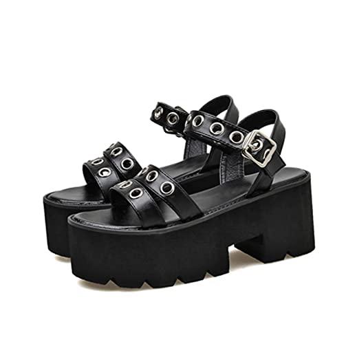 sandali jelly Hain Femmes Sandoles Platform Punk Scarpe Rock Gothic Sandals Jelly Scarpe Peep Toe Pelle Sandals Sandali Piattaforma Punk Scarpe