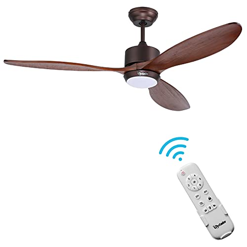 Ovlaim 60 inch WIFI Smart Led Ceiling Fan DC Motor Ceiling Fan with Light Wood Ceiling Fan with Remote Control Dimmable 3 color Temperature for Living Room, Bedroom (Brown)