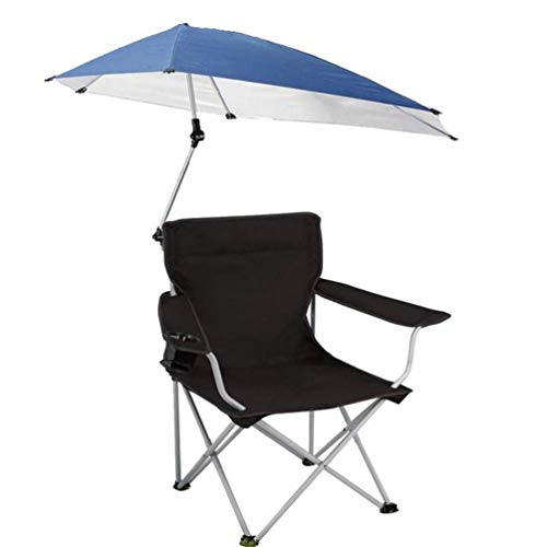 Portable Camping Chair with Umbrella, Heavy Duty Sports Chair Folding Beach Chairs, Support 140kg Factory Direct Sales (Color : Black)