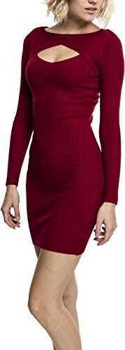 Urban Classics Damen Ladies Cut Out Dress Kleid, Rot (Burgundy 606), Small
