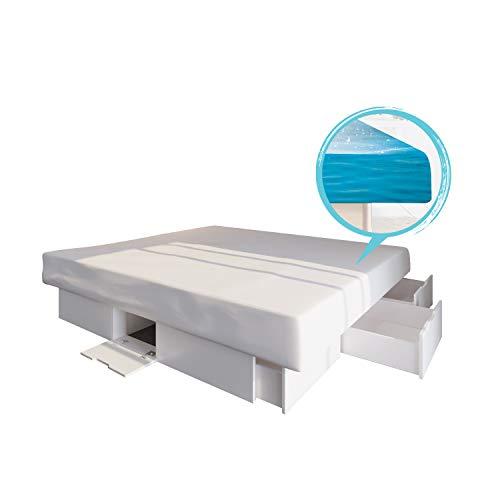 bellvita WASSERBETTEN SONDERAKTION SCHUBLADENSOCKEL inkl. Lieferung und AUFBAUSERVICE durch Fachpersonal, 180 cm x 200 cm (weiß)