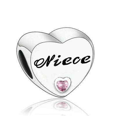 Love Heart Charm Collection Beads - Authenic S925 Sterling Silver Love Heart Family Collection with Cubic Zirconia Charms & Gift Pouch (Niece)