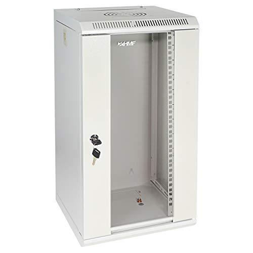 """HMF 63312-07 Serverschrank 10 Zoll, 12 HE, Netzwerkschrank, Wandschrank, 10\"""", 31,2 x 30 x 61,6 cm, Voll Montiert, lichtgrau"""