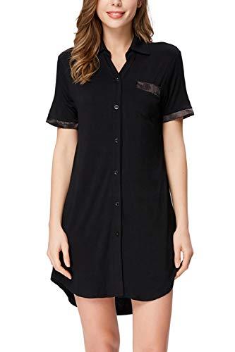 Zexxxy Nachthemd Damen Boyfriend Nightshirt vorn Geknöpft Schwarz Nachthemd Nachtwäsche Schwarz M