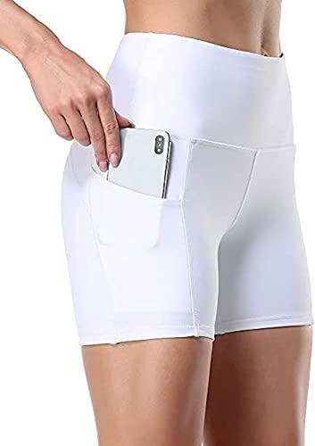 Ducomi Noas Pantaloncini Donna Fitness Corti 2 Tasche Laterali - Ciclisti Sportivi Corsa, Allenamento Palestra Casa, Yoga, Pilates, Ciclista Leggings Running (White, S)