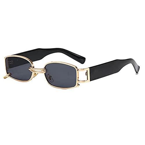 XUANTAO Gafas de sol de moda, gafas de sol de moda, pendientes de desgaste, personalidad adulta, salvaje, gafas de caja, sombrilla, pies de espejo, marco dorado, película gris