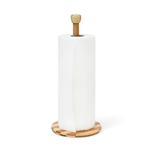 Relaxdays Küchenrollenhalter Bambus HBT 33 x 15 x 15 cm Haushaltsrollenhalter stabiler Ständer für Küchenrolle und Papierrolle auch als kleiner Toilettenpapierständer für Ersatzrollen, natur