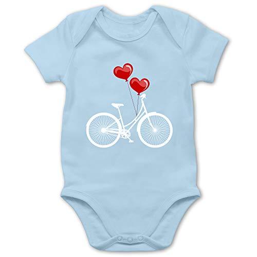 Shirtracer Up to Date Baby - Fahrrad Herz Luftballons - weiß/rot - 3/6 Monate - Babyblau - Fahrrad mädchen 18 - BZ10 - Baby Body Kurzarm für Jungen und Mädchen