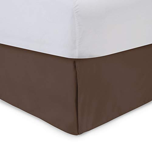 Tailored Bedskirt - 14 inch Drop, Brown, King Bed Skirts with Split Corners (Available in and 16 Colors) Blissford