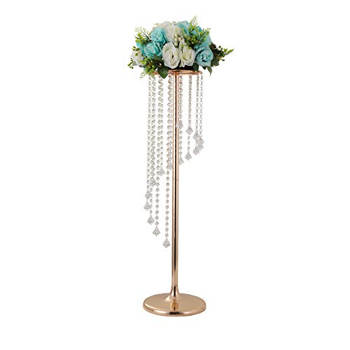 Wedding vases centerpieces Tall Metal Wedding Flower Stand, Wedding Decor Flower Centerpiece, Long Whrily Acrylic Crystal Flower Vase, Home Decor Vase for Anniversary (Gold, Whirly Strings S)