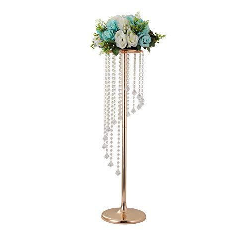 LANLONG 90cm hoch Hochzeitstisch Tafelaufsatz Kerzenhalter Kerzenständer Straßenblei-Blumenständer Hochzeit Zuhause Weihnachten Dekoration für Wohnzimmer, acryl metall, gold- 90cm