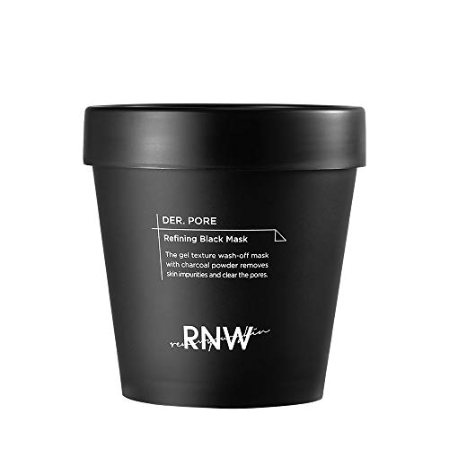 RNW DER. Pore Refining Black Mask 6.7 Oz / 200ml Gel Texture Wash-off Mask With Charcoal Powder Removes Skin Impurities & Clear The Pores Korean Skin Care K-Beauty