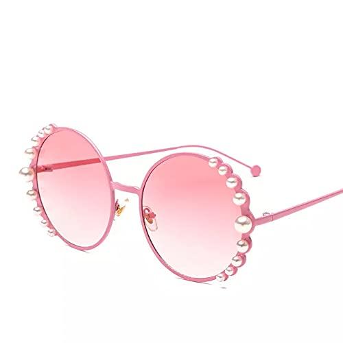 HHAA Gafas De Sol Redondas con Cuentas De Lujo, Gafas De Sol De Diseñador con Perlas De Marca con Marco De Aleación para Mujer, Gafas De Sol Negras para Mujer