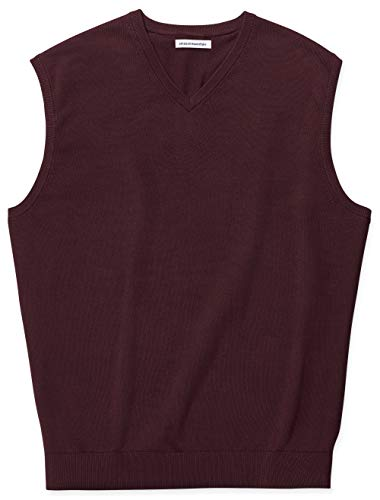 Amazon Essentials Men's Big & Tall V-Neck Sweater Vest fit by DXL, Burgundy, 4X
