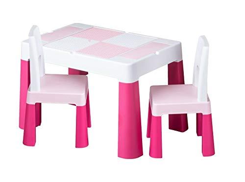 Kindertisch mit 1x | 2X Kinderstuhl Tega® Ablagefach Fläche zum Malen Garten Zuhause (Rosa, 2X Kinderstuhl)