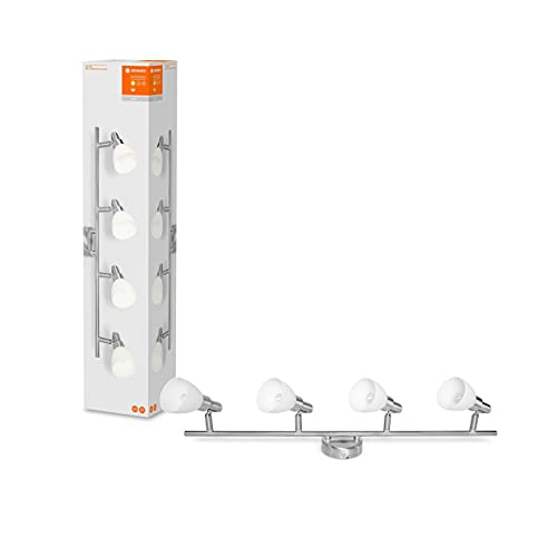 LEDVANCE LED Foco, foco de 4 focos de calidad fabricado en aluminio, apto para paredes y techos interiores, lámparas recambiables G9 2W incluidas, blanco cálido (2700K), LED SPOT G9 4x2W