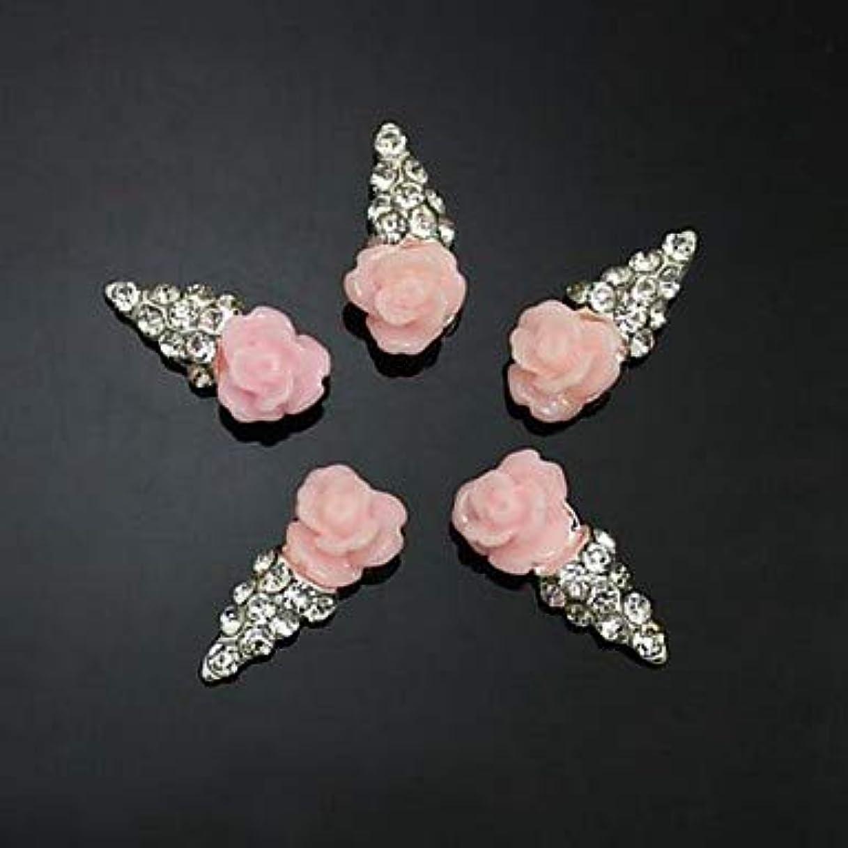 敵意限りオーディション10ピースピンクの花の形のアイスクリーム3dラインストーンdiyアクセサリーネイルアートデコレーション