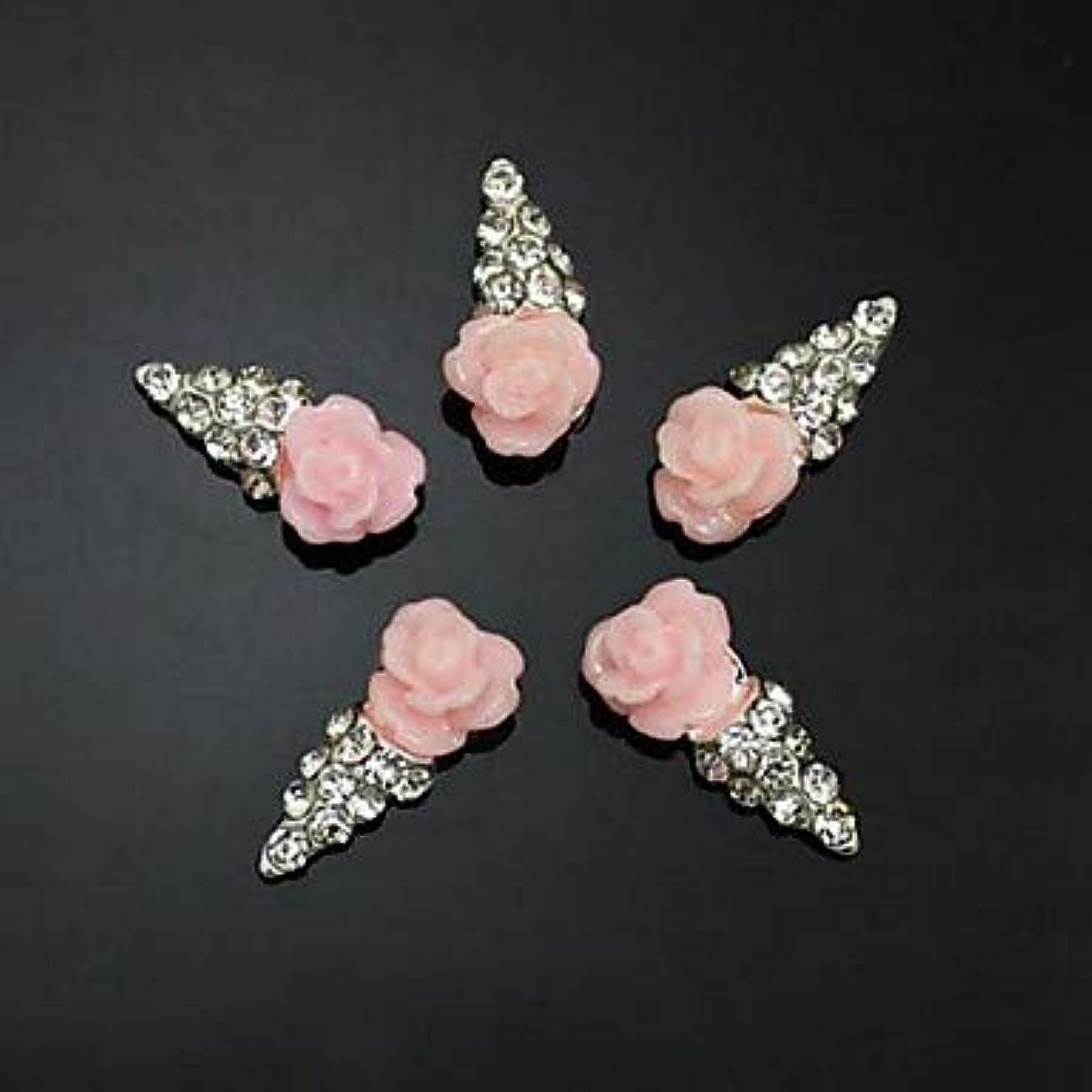 後方にブローホールチェス10ピースピンクの花の形のアイスクリーム3dラインストーンdiyアクセサリーネイルアートデコレーション