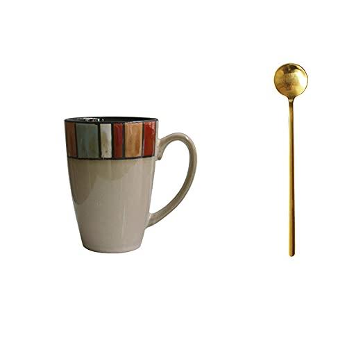 Tazas de café,taza de cerámica creativa europea 300ml del desayuno de la taza-E