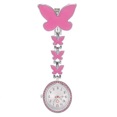 Retro Zhicaikeji Enfermera Reloj Mariposa Enfermera Cofre Reloj de Aleación Médico Mesa Colgante Reloj de bolsillo 2.6x8cm Fácil de leer Fácil de llevar (Color: Rojo, Tamaño: 2.6x8cm) Pocket watch
