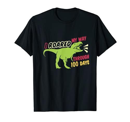 Dinosaurio I Escuela 100 Días Roar Kindergarten Rex Tyranno Camiseta