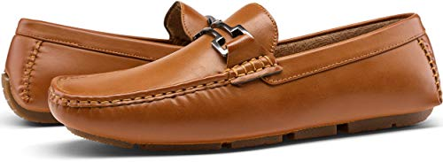 Jousen Men's Loafers Casual Slip On Driving Shoes Metal Buckle Boat Loafer (AMY801 Brown 11.5)
