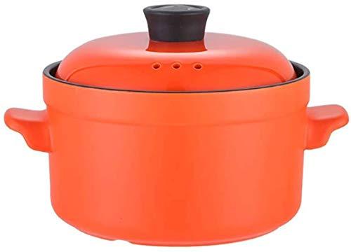 aedouqhr Olla para Sopa de Emergencia con Tapa y asa, BH Braise Pan Clay Pot Cazuela de cerámica, Utensilios de cocción Lenta para 2.5l (Color: Naranja, Tamaño: 3.8L)